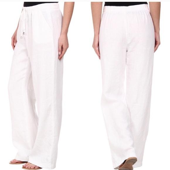 667ac60263 Vince Camuto Pants | 100 Linen Wide Leg White Sz L | Poshmark